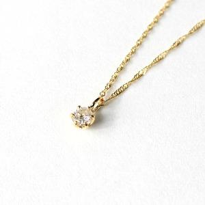 18金イエローゴールド ダイヤモンド 0.1ct ペンダント ネックレス