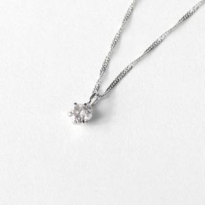 18金ホワイトゴールド ダイヤモンド 0.1ct ペンダント ネックレス
