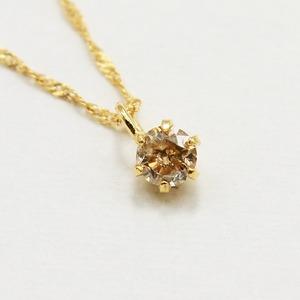 18金イエローゴールド ブラウンダイヤモンド 0.1ct ペンダント ネックレス