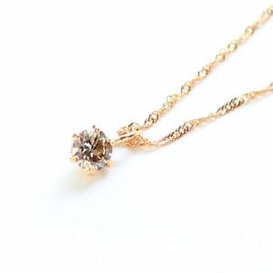 18金ピンクゴールド ブラウンダイヤモンド 0.1ct ペンダント ネックレス