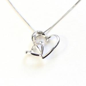 ダブルハート ダイヤモンド ネックレス ペンダント ホワイトゴールド