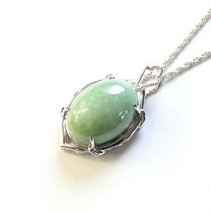 翡翠 25ct ダイヤモンド ペンダント ネックレス