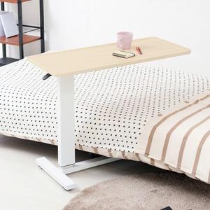 ガス圧昇降テーブル(ナチュラル)  幅80cm/机/デスク/リフティング/介護/木製/高さ調節/補助テーブル/ベッドテーブル/サイドテーブル/北欧風/モダン/NK-518