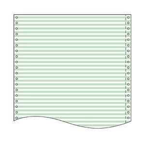 トッパン・フォームズ ストックフォーム 10×11インチ 白上質紙 55kg 1/6幅、カラーライン(淡緑)とブラック LT1016L1 1箱(2000セット)