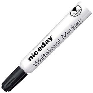 (まとめ)オフィスデポオリジナル niceday ホワイトボードマーカー 丸芯 2.5mm 黒 1箱(12本)【×10セット】