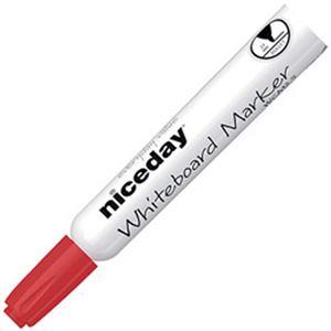 (まとめ)オフィスデポオリジナル niceday ホワイトボードマーカー 丸芯 2.5mm 赤 1箱(12本)【×10セット】