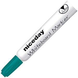 (まとめ)オフィスデポオリジナル niceday ホワイトボードマーカー 丸芯 2.5mm 緑 1箱(12本)【×10セット】