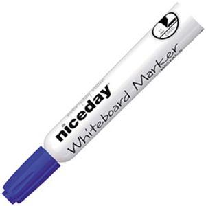 (まとめ)オフィスデポオリジナル niceday ホワイトボードマーカー 角芯 1.0〜5.0mm 青 1箱(12本)【×10セット】
