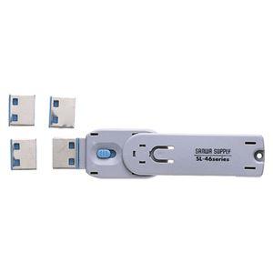 サンワサプライ USBコネクタ取付けセキュリティ ブルー SL-46-BL