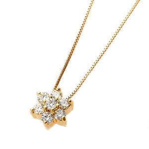 【鑑別書付】K18イエローゴールド 天然ダイヤモンドネックレス ダイヤ0.2ctネックレス ハート&キューピット(H&C) Hアップ SIアップ フラワーモチーフ