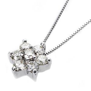 【鑑別書付】K18ホワイトゴールド 天然ダイヤモンドネックレス ダイヤ0.3ctネックレス ハート&キューピット(H&C) Hアップ SIアップ フラワーモチーフ