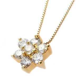 【鑑別書付】K18イエローゴールド 天然ダイヤモンドネックレス ダイヤ0.3ctネックレス ハート&キューピット(H&C) Hアップ SIアップ フラワーモチーフ