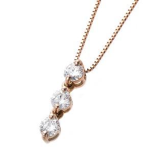【鑑別書付】K18ピンクゴールド 天然ダイヤモンドネックレス ダイヤ0.24ctネックレス ハート&キューピット(H&C) Hアップ SIアップ ダイヤ3ストーン