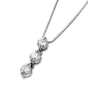 【鑑別書付】K18ホワイトゴールド 天然ダイヤモンドネックレス ダイヤ0.24ctネックレス ハート&キューピット(H&C) Hアップ SIアップ ダイヤ3ストーン