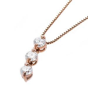 【鑑別書付】K10ピンクゴールド 天然ダイヤモンドネックレス ダイヤ0.24ctネックレス ハート&キューピット(H&C) Hアップ SIアップ ダイヤ3ストーン