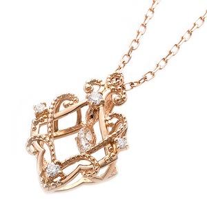 【鑑別書付】K18ピンクゴールド 天然ダイヤモンドネックレス ダイヤ0.13ctネックレス ハート&キューピット(H&C) Hアップ SIアップ フラワーモチーフ