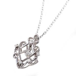 【鑑別書付】K18ホワイトゴールド 天然ダイヤモンドネックレス ダイヤ0.13ctネックレス ハート&キューピット(H&C) Hアップ SIアップ フラワーモチーフ