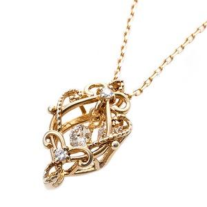 【鑑別書付】K18イエローゴールド 天然ダイヤモンドネックレス ダイヤ0.05ctネックレス ハート&キューピット(H&C) Hアップ SIアップ フラワーモチーフ