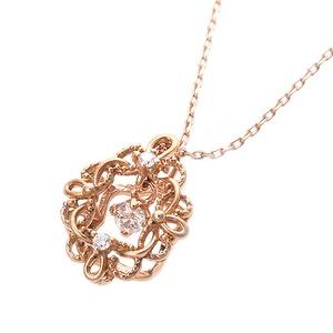 【鑑別書付】K18ピンクゴールド 天然ダイヤモンドネックレス ダイヤ0.05ctネックレス ハート&キューピット(H&C) Hアップ SIアップ フラワーモチーフ