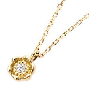 【鑑別書付】K18イエローゴールド 天然ダイヤモンドネックレス ダイヤ0.014ctネックレス ハート&キューピット(H&C) Hアップ SIアップ フラワーモチーフ