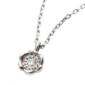【鑑別書付】プラチナPT900 天然ダイヤモンドネックレス ダイヤ0.014ctネックレス ハート&キューピット(H&C) Hアップ SIアップ フラワーモチーフ