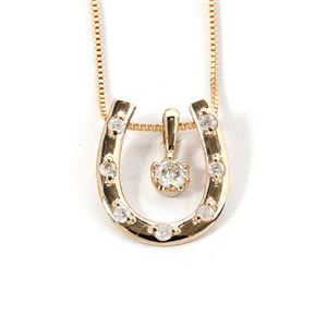 K18イエローゴールド 天然ダイヤモンドネックレス 馬蹄型ネックスレス ダイヤ0.1CTネックレス