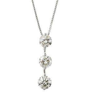 ダイヤモンド ネックレス 3石 合計1ct プラチナ Pt900 縦にセットされた人気のダイヤ3ストーン ペンダント 鑑定書付き