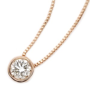 K18ピンクゴールド 天然ダイヤモンドネックレス Nudie Heart Plus(ヌーディーハートプラス) 人気の覆輪留(フクリンドメ) SI〜Iクラス ダイヤ0.15ctネックレス
