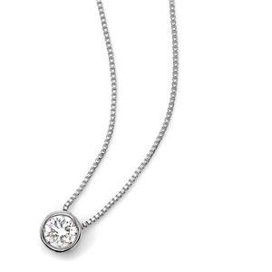 K18ホワイトゴールド 天然ダイヤモンドネックレス Nudie Heart Plus(ヌーディーハートプラス) 人気の覆輪留(フクリンドメ) SI〜Iクラス ダイヤ0.15ctネックレス