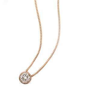 K18ピンクゴールド 天然ダイヤモンドネックレス Nudie Heart(ヌーディーハート) 人気の覆輪留(フクリンドメ) SI〜Iクラス ダイヤ0.10ctネックレス