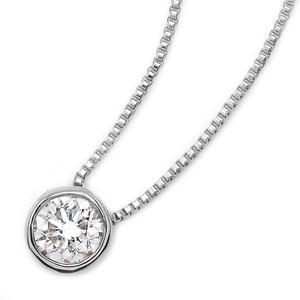 K18ホワイトゴールド 天然ダイヤモンドネックレス Nudie Heart(ヌーディーハート) 人気の覆輪留(フクリンドメ) SI〜Iクラス ダイヤ0.10ctネックレス