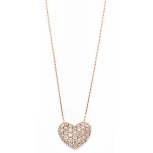 K18ピンクゴールド ダイヤモンドネックレス 0.5CT ハートダイヤパヴェネックレス