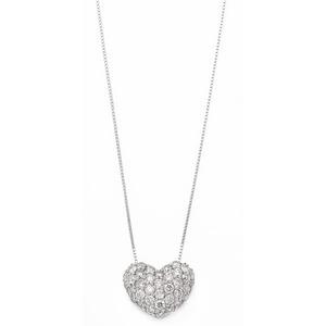 K18ホワイトゴールド ダイヤモンドネックレス 0.5CT ハートダイヤパヴェネックレス