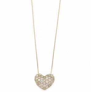 K18イエローゴールド ダイヤモンドネックレス 0.5CT ハートダイヤパヴェネックレス