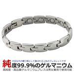 高純度99.9% ゲルマニウム ブレスレット シルバーカラー Lサイズ20cm 大人気商品!