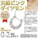 【鑑別書付】プラチナPT900 天然ダイヤモンド&ピンクダイヤモンド 馬蹄型ネックスレス ダイヤ0.2CTネックレス