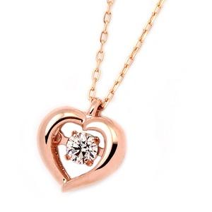 K18ピンクゴールド 天然ダイヤモンドネックレス ダンシングストーン ダイヤモンドスウィングネックレス ダイヤ0.08ct ハートモチーフ 揺れるダイヤが輝きを増す☆