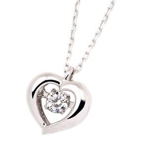 K18ホワイトゴールド 天然ダイヤモンドネックレス ダンシングストーン ダイヤモンドスウィングネックレス ダイヤ0.08ct ハートモチーフ 揺れるダイヤが輝きを増す☆