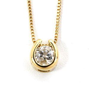 K18イエローゴールド 天然ダイヤモンドネックレス ダイヤ0.1CTネックレス