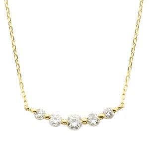K18イエローゴールド ダイヤモンドネックレス 0.3CT 5粒ダイヤネックレス