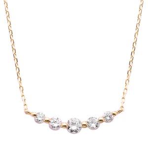 K18ピンクゴールド ダイヤモンドネックレス 0.3CT 5粒ダイヤネックレス