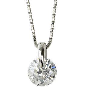 【鑑定書付】プラチナPT900 天然ダイヤモンドネックレス ダイヤ1.0CTネックレス 一点留 H SI2 Good