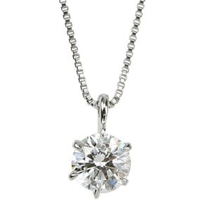 【鑑定書付】プラチナPT900 天然ダイヤモンドネックレス ダイヤ0.5CTネックレス 6本爪 H SI2 Good