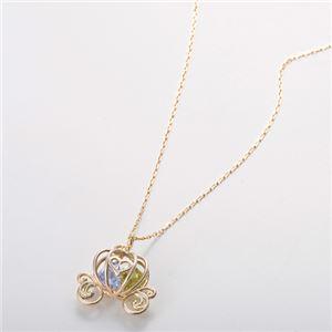 K10イエローゴールド CZダイヤ(キュービックジルコニア) ネックレス 可愛らしいかぼちゃ馬車モチーフ 40cm 長さ調節可能(アジャスター付き)