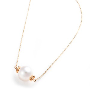 K10イエローゴールド あこや真珠 パールネックレス 40cm 長さ調節可能(アジャスター付き)