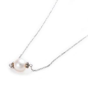 K10ホワイトゴールド あこや真珠 パールネックレス 40cm 長さ調節可能(アジャスター付き)