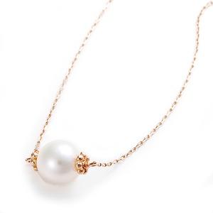 K10ピンクゴールド あこや真珠 パールネックレス 40cm 長さ調節可能(アジャスター付き)