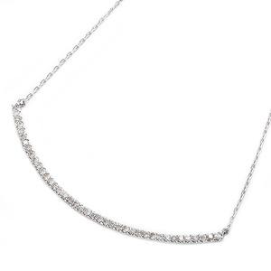 K10ホワイトゴールド 天然ダイヤモンドネックレス 0.2ct(40石) 大人気デコルテラインデザイン 40cm 長さ調節可能(アジャスター付き)