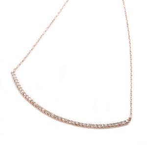 K10ピンクゴールド 天然ダイヤモンドネックレス 0.2ct(40石) 大人気デコルテラインデザイン 40cm 長さ調節可能(アジャスター付き)