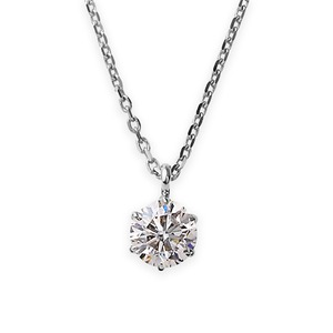 ダイヤモンド ネックレス 一粒 K18 ホワイトゴールド   0.5ct ダイヤネックレス 6本爪 Kカラー I1クラス Poor 中央宝石研究所ソーティング済み